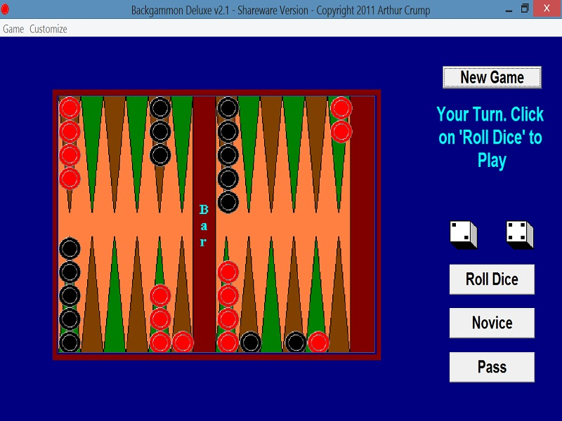 Click to view Backgammon Deluxe 2.1 screenshot
