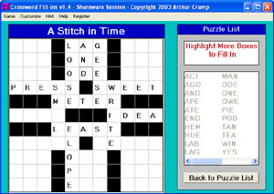Click to view Crossword FillIns 3.1 screenshot