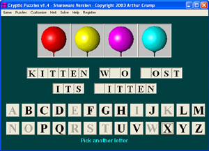 Combines a hangman-like game with a cryptogram-like challenge.